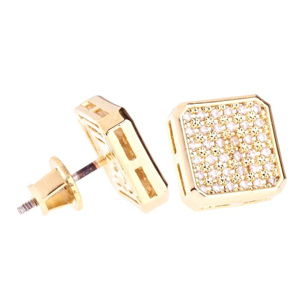 Iced Out Bling Micro Pave Ohrstecker - SLICED 10mm gold