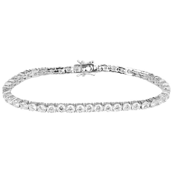 Iced Out Bling High Quality Armband - SILBER 1 ROW 4mm