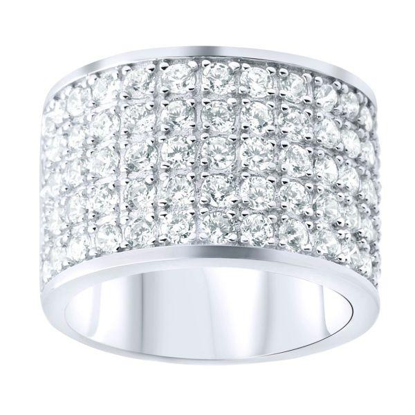 Sterling 925er Silber STAR Ring - 5 Zirkonia Reihen