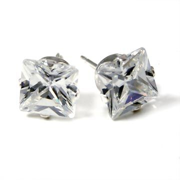 925 Sterling Silber Iced Out Bling Ohrstecker - viereckig