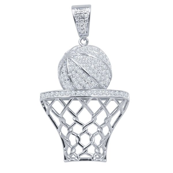925 Sterling Silber Iced Out Anhänger - Basketball Korb