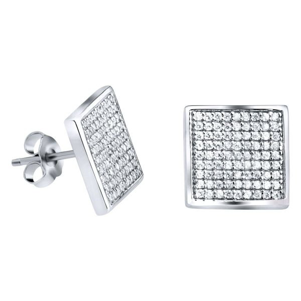 Sterling 925er Silber PAVE Ohrstecker - MAGIC 12mm