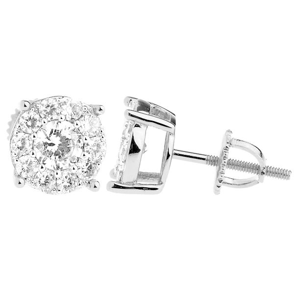 925 Sterling Silber Bling Zirkonia Ohrringe - CLUSTER 9mm