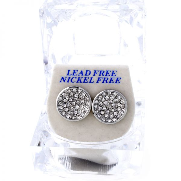 Iced Out Bling Ohrstecker Box - HOT ROUND silber