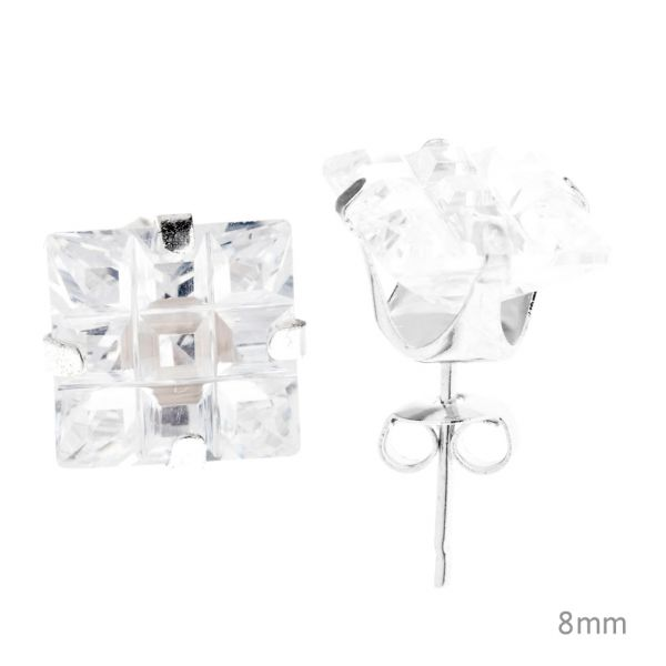 925 Sterling Silber Iced Out Ohrstecker - SQUARE CUT