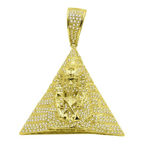 925 Sterling Silber 3D Anhänger - Ägyptische Pyramide gold