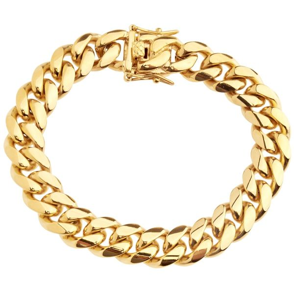 Iced Out Bling Edelstahl Armband - Miami Cuban 12mm gold