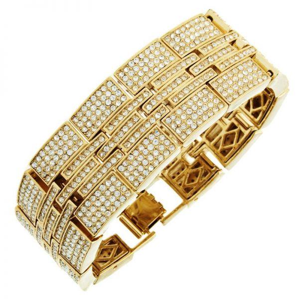 Iced Out Bling Hip Hop Bracelet Armband - MILLIONAIRE gold